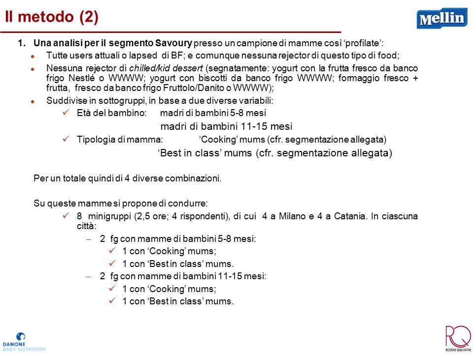 Il metodo (2) 1.Una analisi per il segmento Savoury presso un campione di mamme così 'profilate': Tutte users attuali o lapsed di BF; e comunque nessu