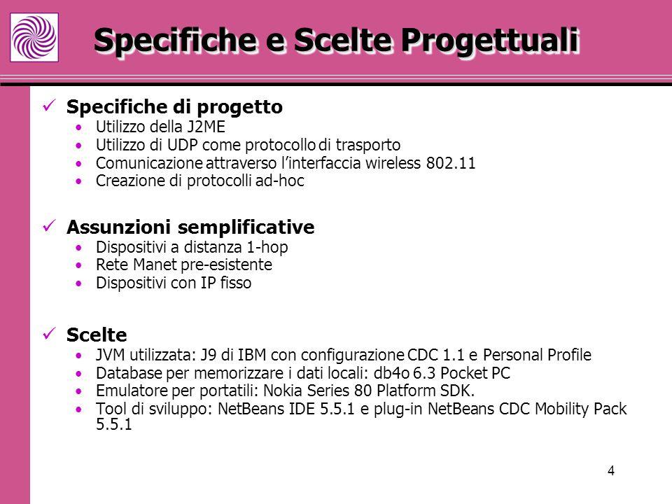 4 Specifiche e Scelte Progettuali Specifiche di progetto Utilizzo della J2ME Utilizzo di UDP come protocollo di trasporto Comunicazione attraverso l'interfaccia wireless 802.11 Creazione di protocolli ad-hoc Assunzioni semplificative Dispositivi a distanza 1-hop Rete Manet pre-esistente Dispositivi con IP fisso Scelte JVM utilizzata: J9 di IBM con configurazione CDC 1.1 e Personal Profile Database per memorizzare i dati locali: db4o 6.3 Pocket PC Emulatore per portatili: Nokia Series 80 Platform SDK.
