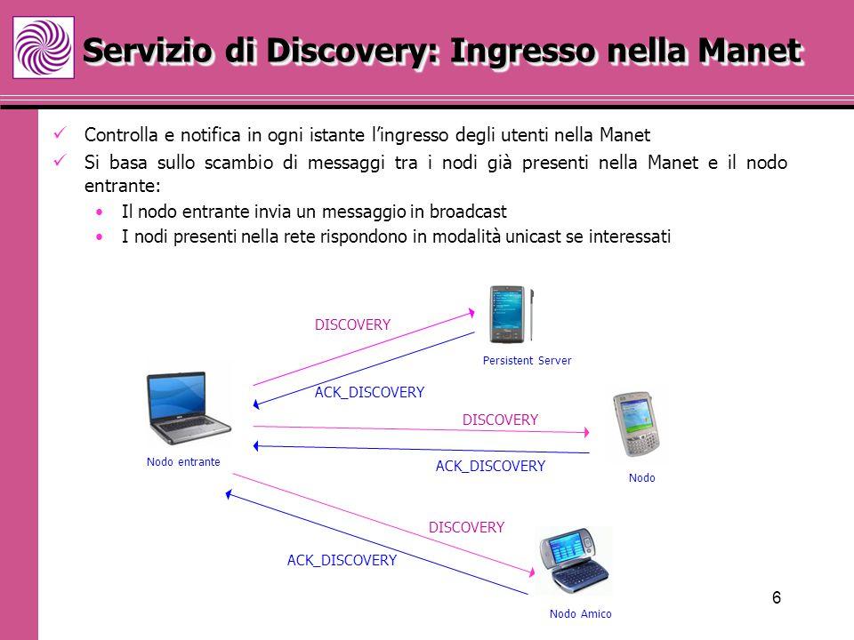 7 Permette di gestire l'uscita di un nodo dalla Manet L'utente che intende andare via avvisa i nodi presenti nella rete con un messaggio in broadcast.