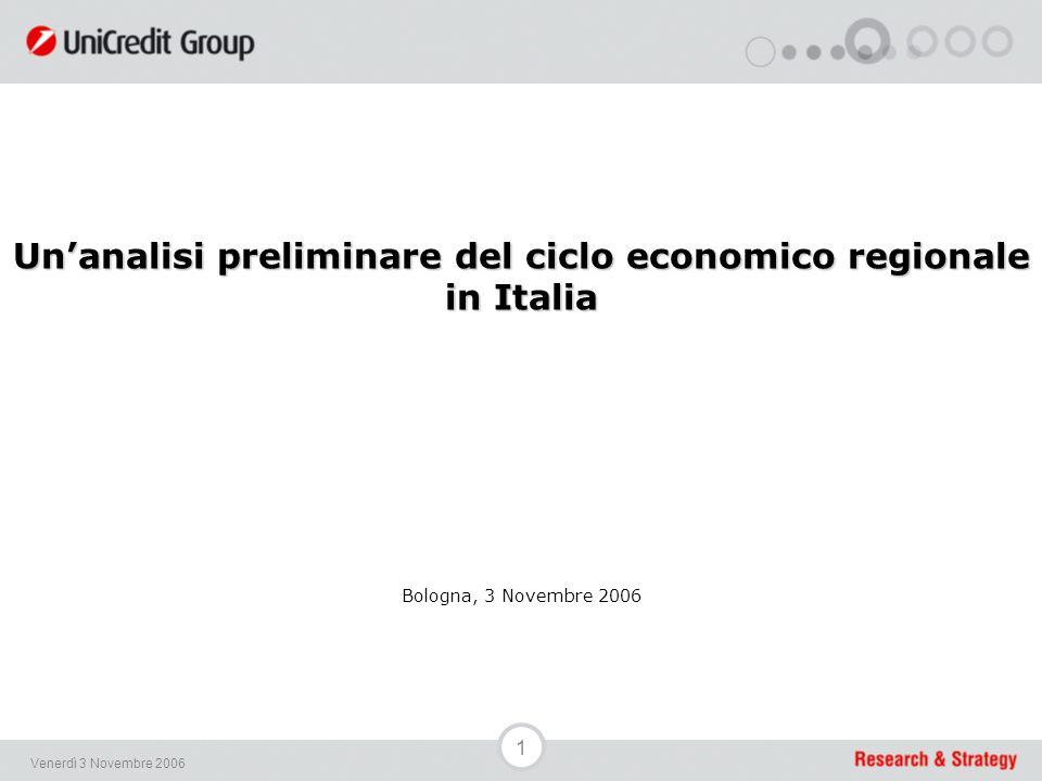 1 Venerdì 3 Novembre 2006 Un'analisi preliminare del ciclo economico regionale in Italia Bologna, 3 Novembre 2006