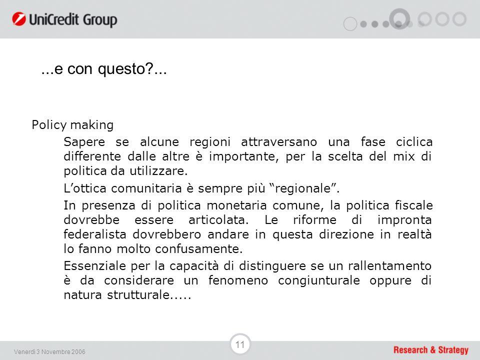 11 Venerdì 3 Novembre 2006 Policy making Sapere se alcune regioni attraversano una fase ciclica differente dalle altre è importante, per la scelta del mix di politica da utilizzare.