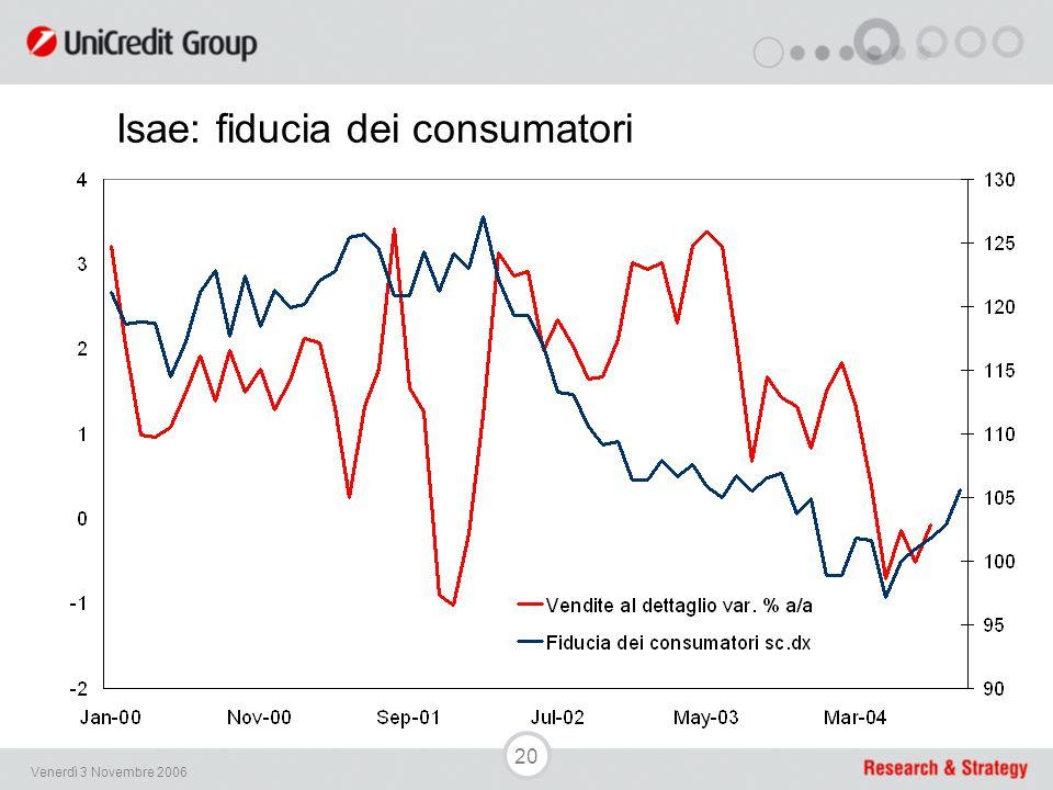 20 Venerdì 3 Novembre 2006 Isae: fiducia dei consumatori