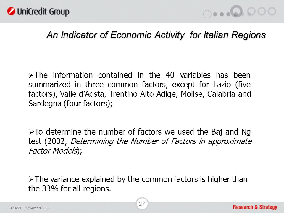 27 Venerdì 3 Novembre 2006 An Indicator of Economic Activityfor Italian Regions An Indicator of Economic Activity for Italian Regions  The informatio