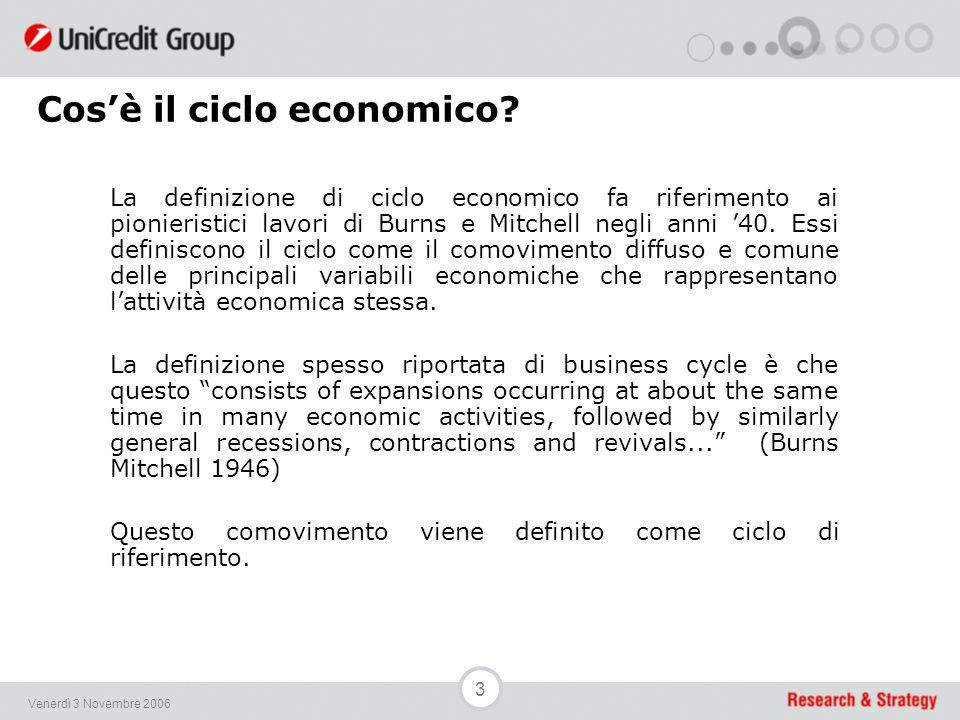 3 Venerdì 3 Novembre 2006 La definizione di ciclo economico fa riferimento ai pionieristici lavori di Burns e Mitchell negli anni '40.