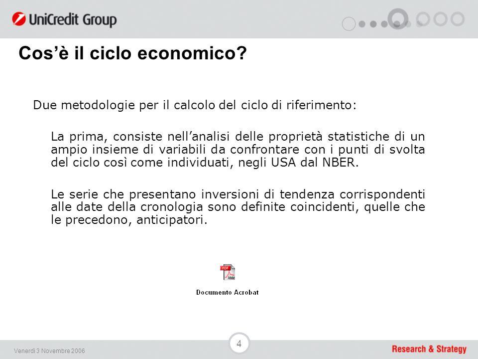 35 Venerdì 3 Novembre 2006 An Indicator of Economic Activity (Emilia-Romagna Region)