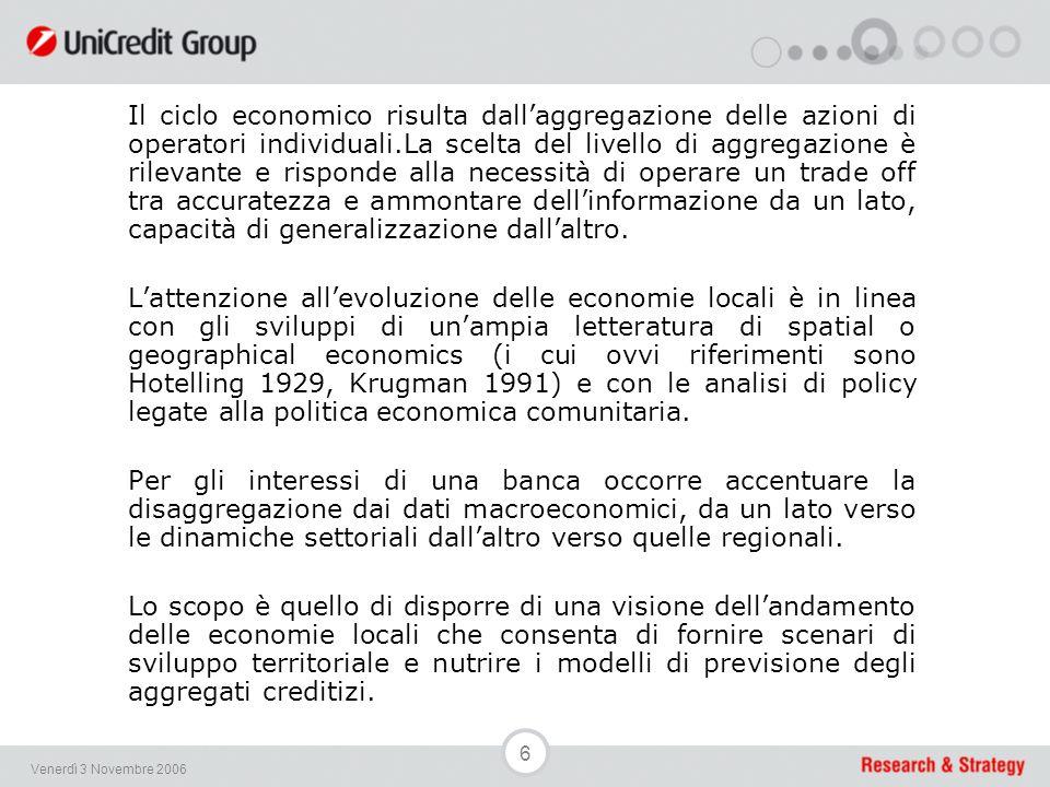 37 Venerdì 3 Novembre 2006 An Indicator of Economic Activity (North-East)