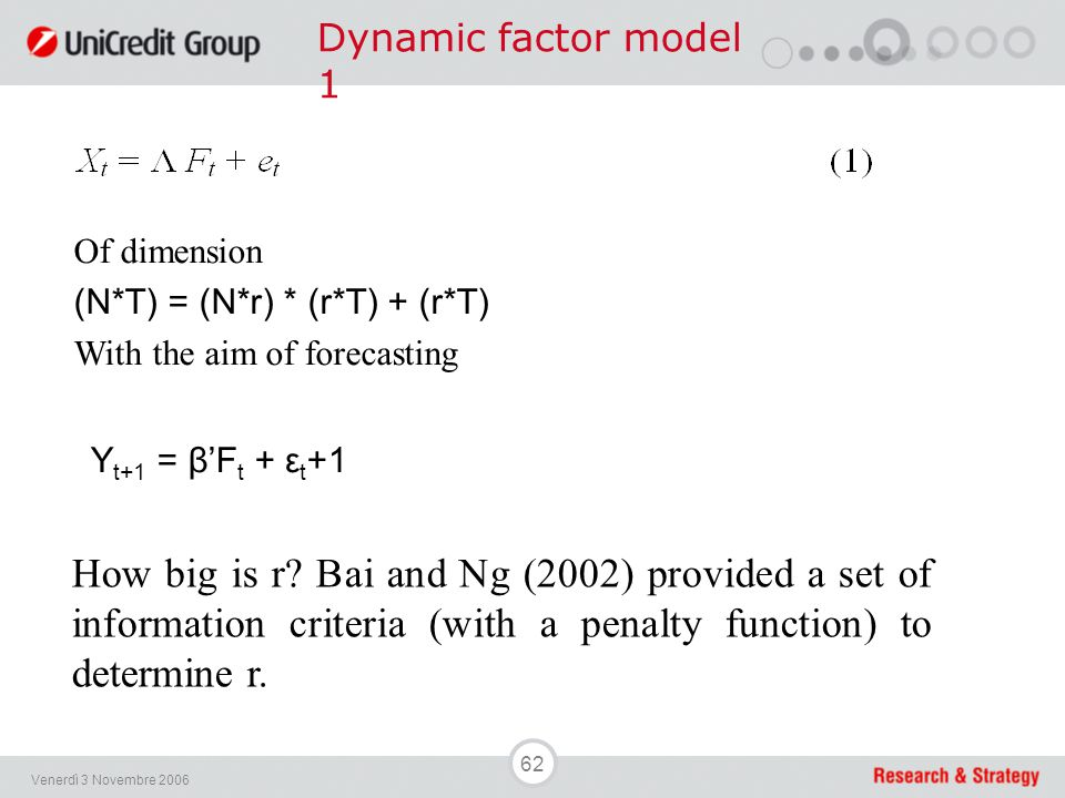62 Venerdì 3 Novembre 2006 Dynamic factor model 1 Of dimension (N*T) = (N*r) * (r*T) + (r*T) With the aim of forecasting Y t+1 = β'F t + ε t +1 How bi