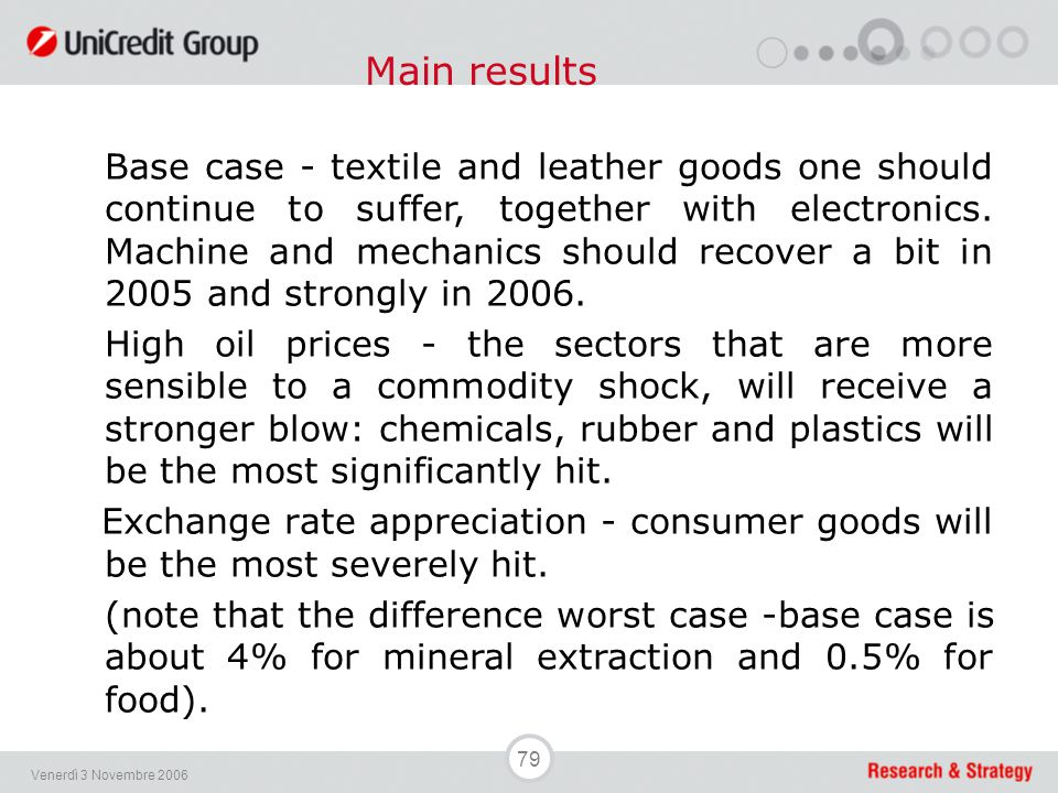 79 Venerdì 3 Novembre 2006 Base case - textile and leather goods one should continue to suffer, together with electronics. Machine and mechanics shoul