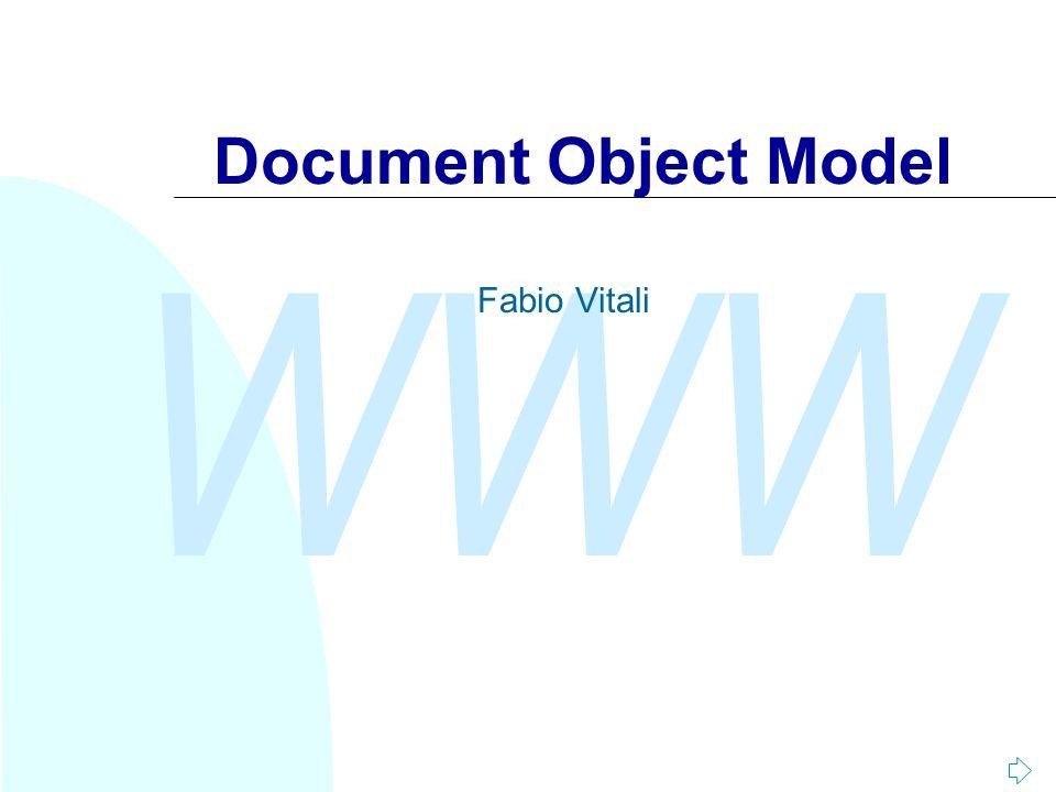 WWW Fabio Vitali Usare DOM (4) Creare nuovo contenuto: u Java (Xerces) DocumentBuilderFactory dbf=DocumentBuilderFactory.newInstance(); DocumentBuilder db = dbf.newDocumentBuilder(); doc = db.newDocument(); root = doc.createElement( book ); item = doc.createElement( title ); text = doc.createTextNode( Titolo 1 ) item.appendChild(text); root.appendChild(item); doc.appendChild(root)