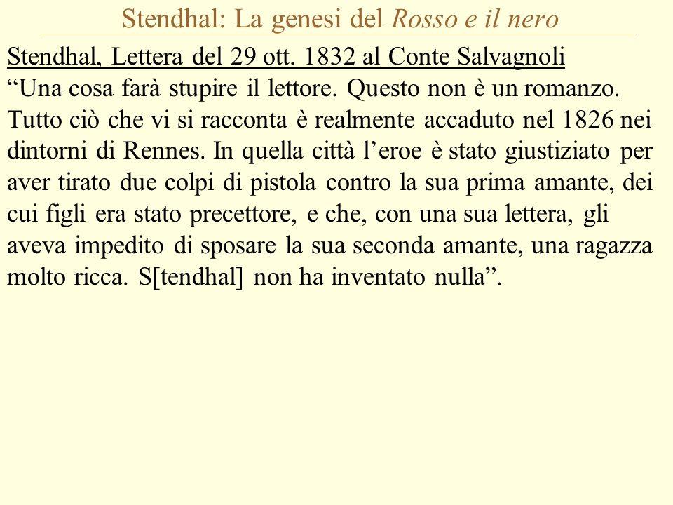 """Stendhal: La genesi del Rosso e il nero Stendhal, Lettera del 29 ott. 1832 al Conte Salvagnoli """"Una cosa farà stupire il lettore. Questo non è un roma"""