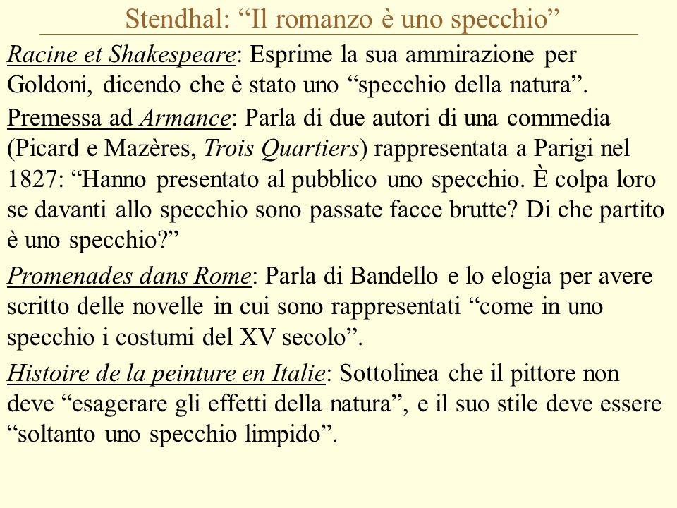 """Stendhal: """"Il romanzo è uno specchio"""" Racine et Shakespeare: Esprime la sua ammirazione per Goldoni, dicendo che è stato uno """"specchio della natura""""."""