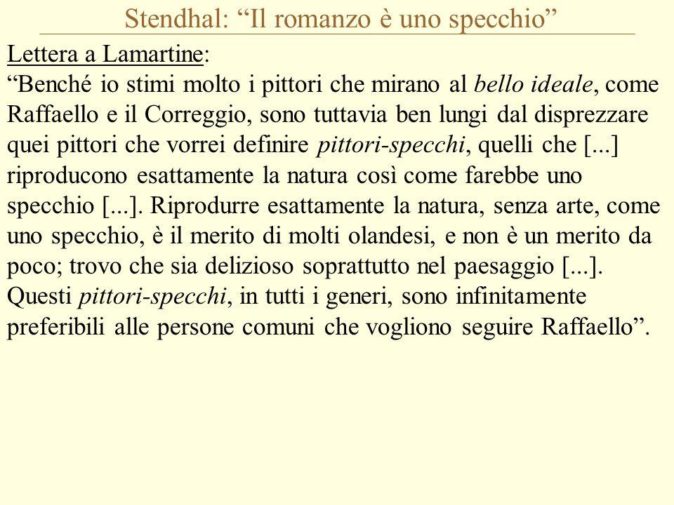 """Stendhal: """"Il romanzo è uno specchio"""" Lettera a Lamartine: """"Benché io stimi molto i pittori che mirano al bello ideale, come Raffaello e il Correggio,"""