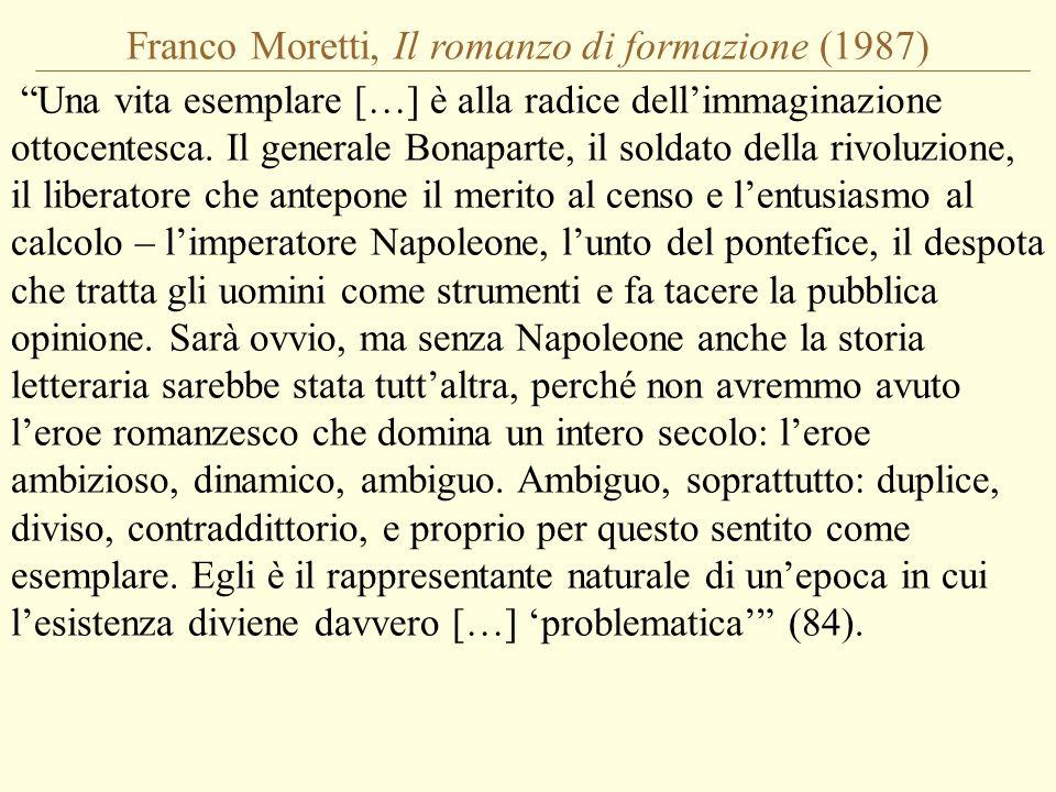 """Franco Moretti, Il romanzo di formazione (1987) """"Una vita esemplare […] è alla radice dell'immaginazione ottocentesca. Il generale Bonaparte, il solda"""