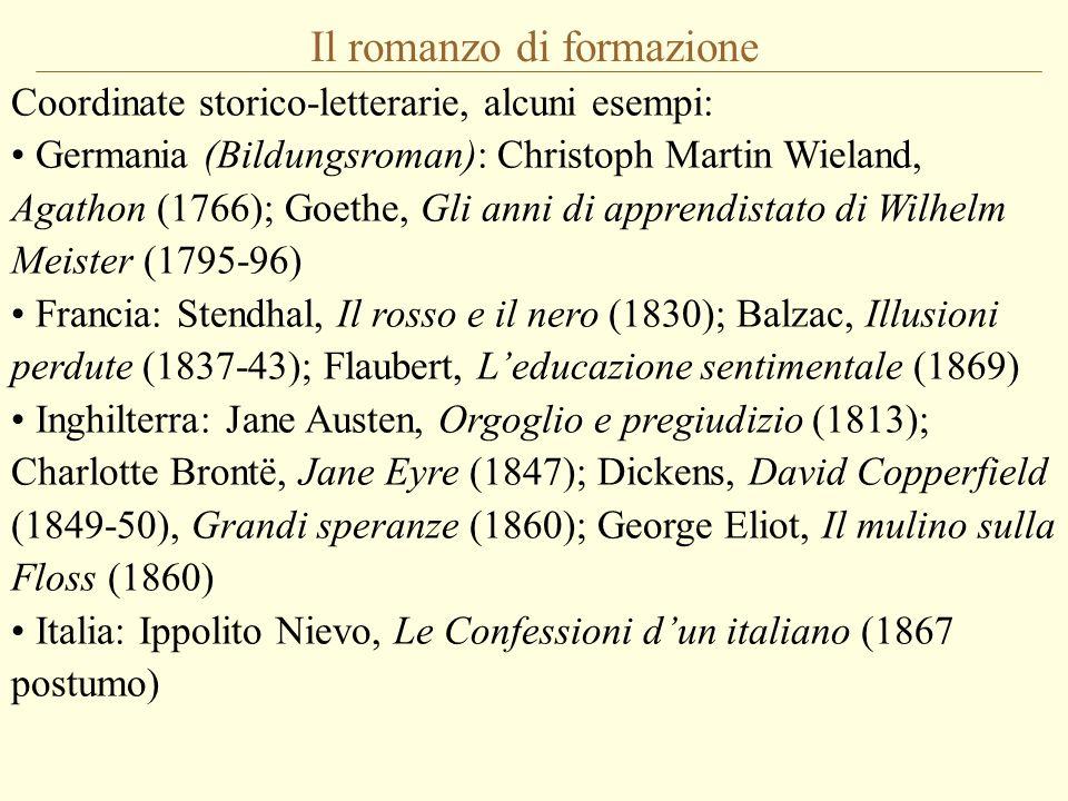 Il romanzo di formazione Coordinate storico-letterarie, alcuni esempi: Germania (Bildungsroman): Christoph Martin Wieland, Agathon (1766); Goethe, Gli