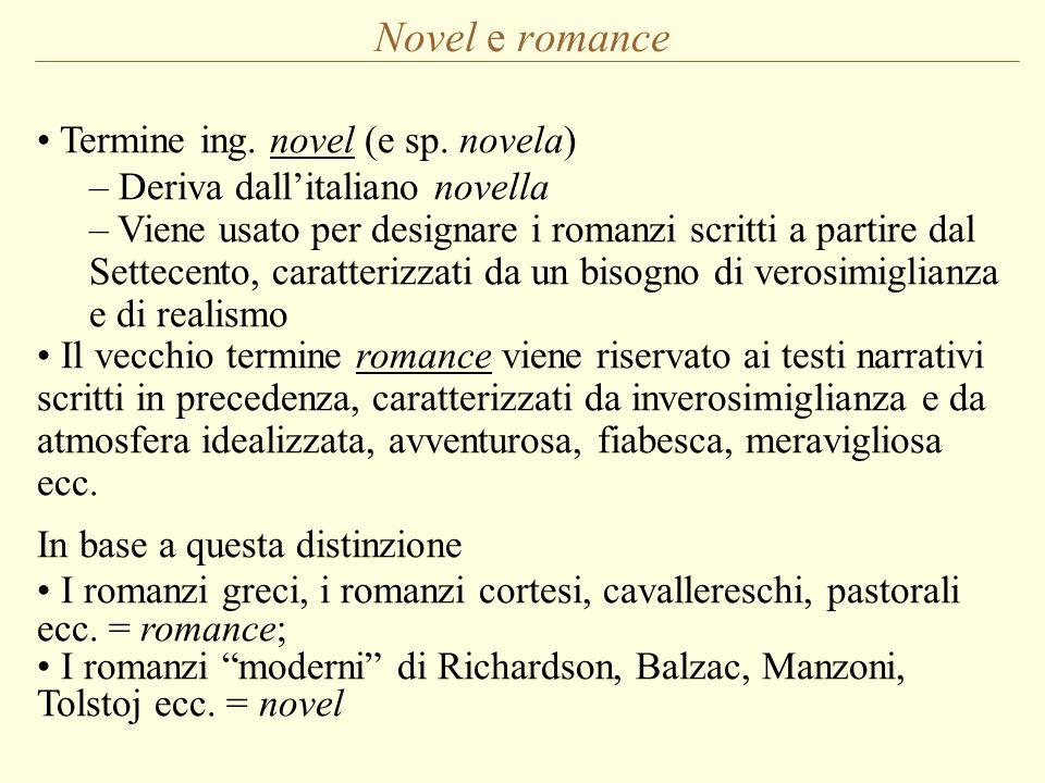 Novel e romance Termine ing. novel (e sp. novela) – Deriva dall'italiano novella – Viene usato per designare i romanzi scritti a partire dal Settecent