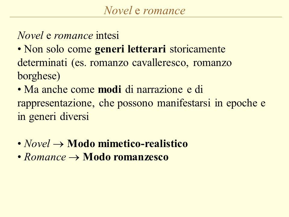 Novel e romance intesi Non solo come generi letterari storicamente determinati (es. romanzo cavalleresco, romanzo borghese) Ma anche come modi di narr