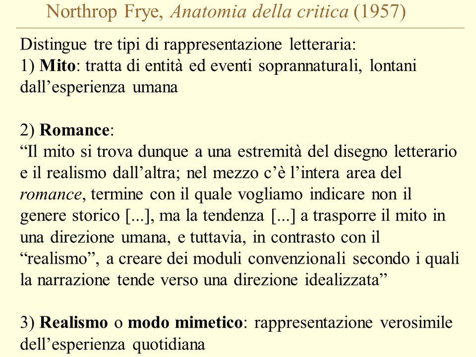Northrop Frye, Anatomia della critica (1957) Distingue tre tipi di rappresentazione letteraria: 1) Mito: tratta di entità ed eventi soprannaturali, lo