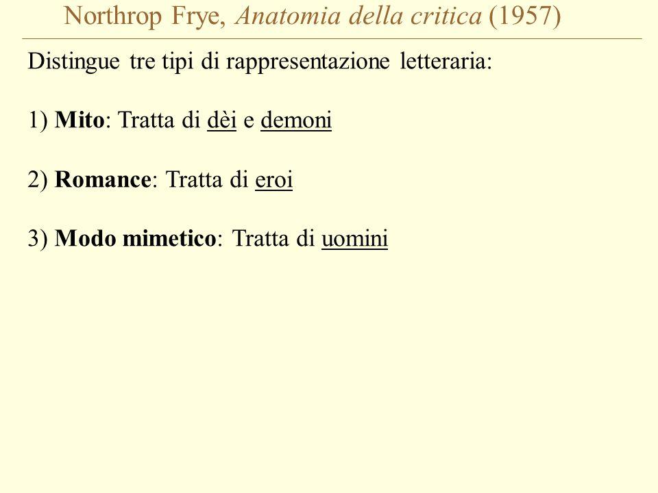 Northrop Frye, Anatomia della critica (1957) Distingue tre tipi di rappresentazione letteraria: 1) Mito: Tratta di dèi e demoni 2) Romance: Tratta di