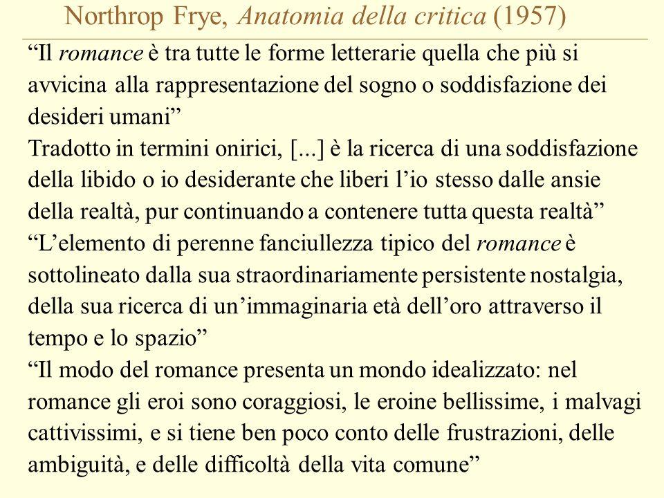 """Northrop Frye, Anatomia della critica (1957) """"Il romance è tra tutte le forme letterarie quella che più si avvicina alla rappresentazione del sogno o"""