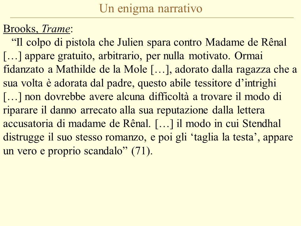 """Un enigma narrativo Brooks, Trame: """"Il colpo di pistola che Julien spara contro Madame de Rênal […] appare gratuito, arbitrario, per nulla motivato. O"""