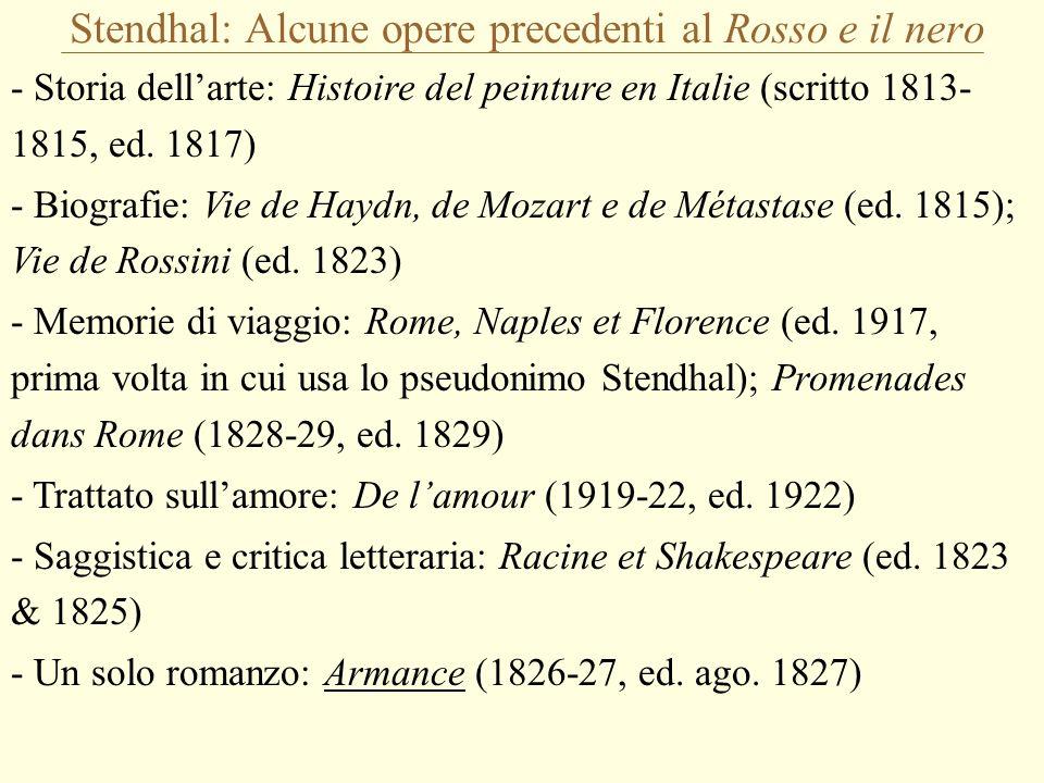 Stendhal: Alcune opere precedenti al Rosso e il nero - Storia dell'arte: Histoire del peinture en Italie (scritto 1813- 1815, ed. 1817) - Biografie: V