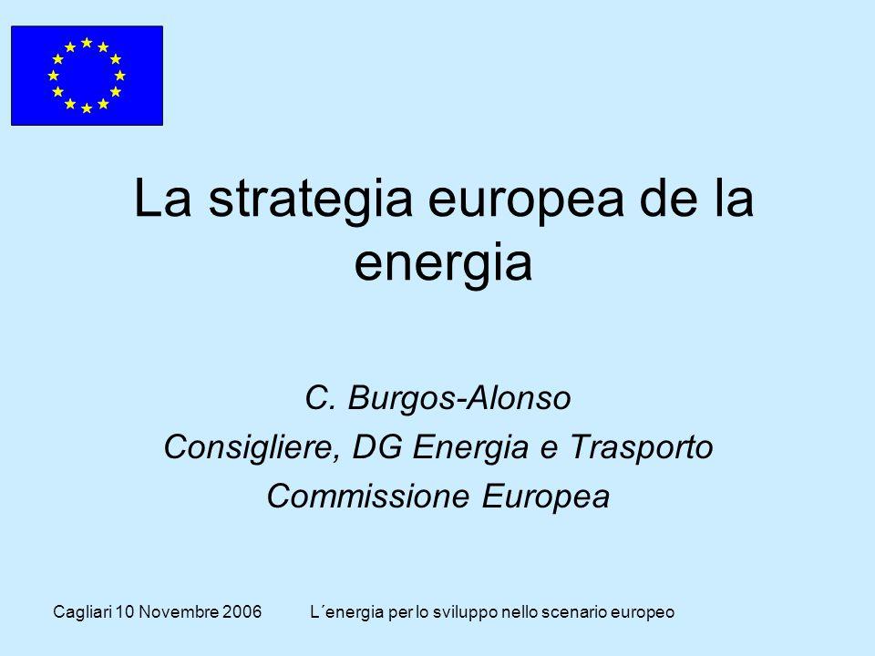 Cagliari 10 Novembre 2006L´energia per lo sviluppo nello scenario europeo Il Libro Verde sull'Energia Adottato dalla Commissione l '8 Marzo 2006.