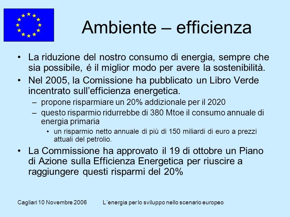 Cagliari 10 Novembre 2006L´energia per lo sviluppo nello scenario europeo Ambiente – efficienza La riduzione del nostro consumo di energia, sempre che sia possibile, é il miglior modo per avere la sostenibilità.