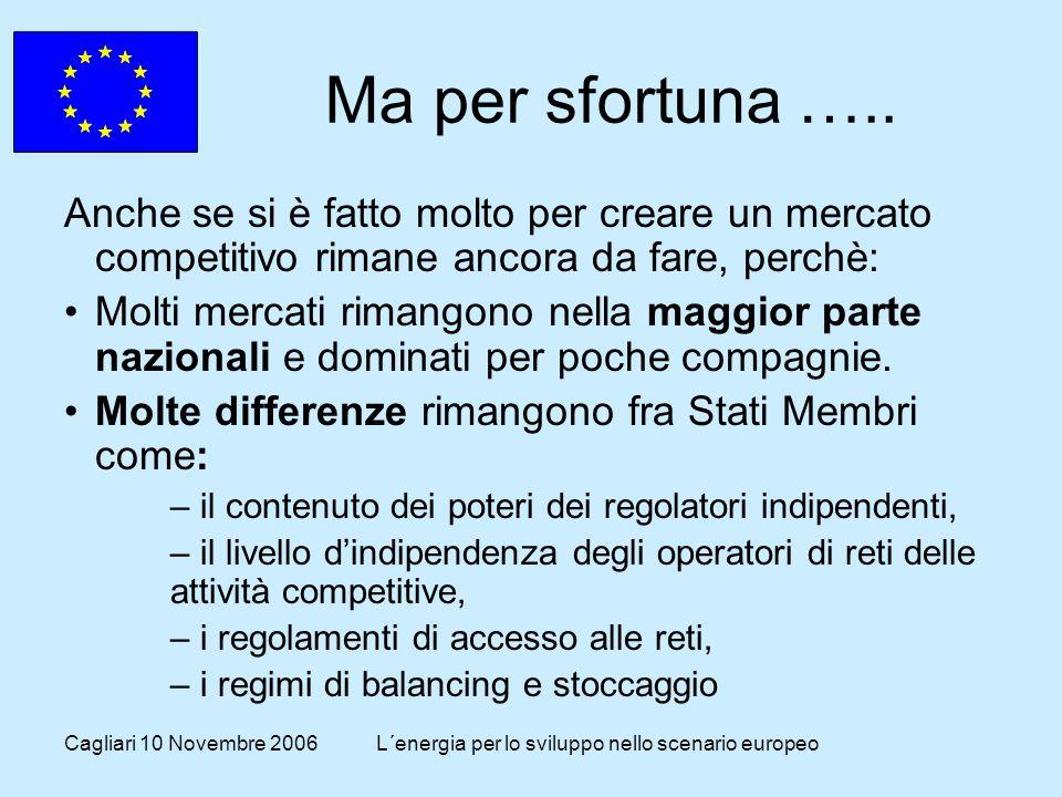 Cagliari 10 Novembre 2006L´energia per lo sviluppo nello scenario europeo Ma per sfortuna …..
