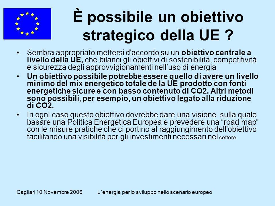 Cagliari 10 Novembre 2006L´energia per lo sviluppo nello scenario europeo È possibile un obiettivo strategico della UE .