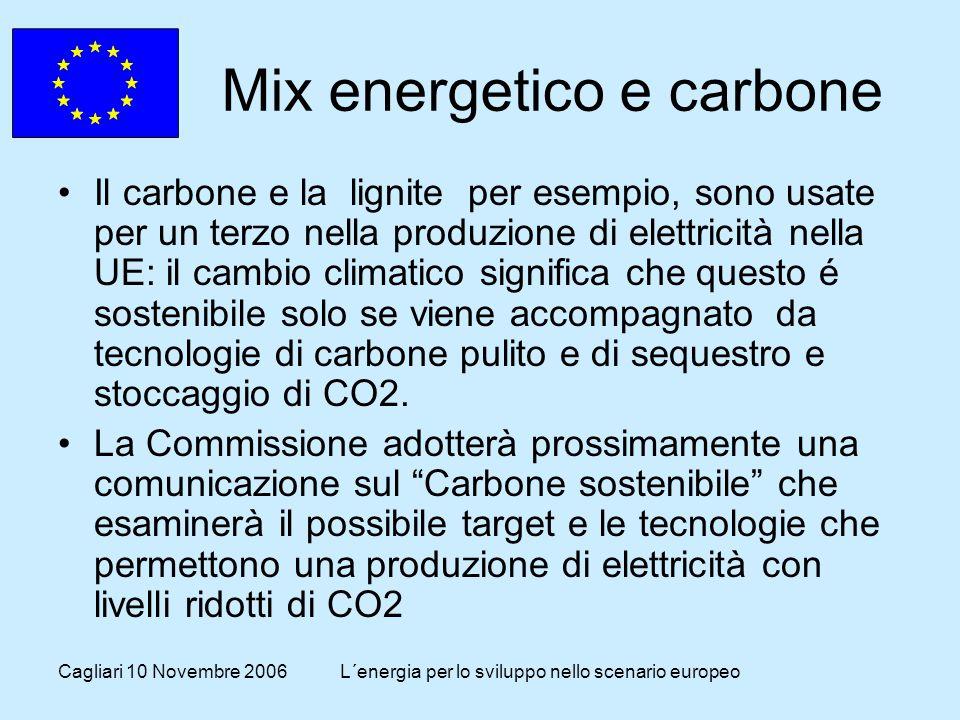 Cagliari 10 Novembre 2006L´energia per lo sviluppo nello scenario europeo Mix energetico e carbone Il carbone e la lignite per esempio, sono usate per un terzo nella produzione di elettricità nella UE: il cambio climatico significa che questo é sostenibile solo se viene accompagnato da tecnologie di carbone pulito e di sequestro e stoccaggio di CO2.