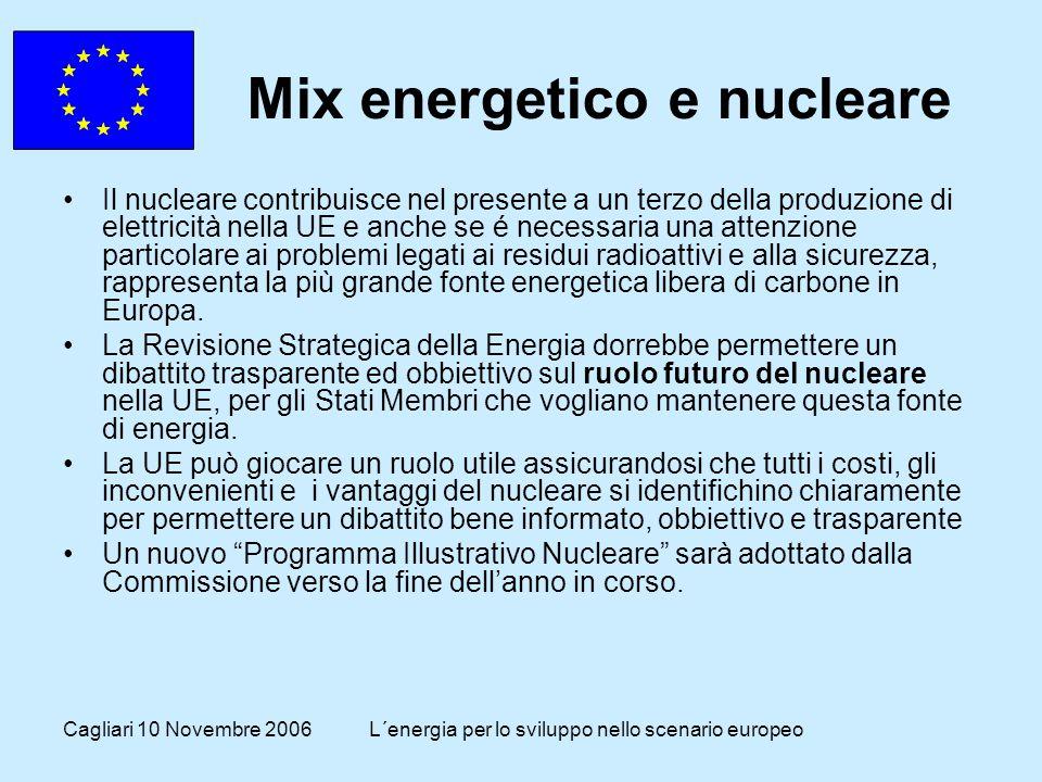 Cagliari 10 Novembre 2006L´energia per lo sviluppo nello scenario europeo Mix energetico e nucleare Il nucleare contribuisce nel presente a un terzo della produzione di elettricità nella UE e anche se é necessaria una attenzione particolare ai problemi legati ai residui radioattivi e alla sicurezza, rappresenta la più grande fonte energetica libera di carbone in Europa.