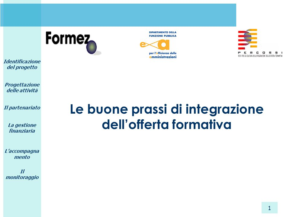 Identificazione del progetto Progettazione delle attività Il partenariato La gestione finanziaria L'accompagna mento Il monitoraggio 1 Le buone prassi di integrazione dell'offerta formativa