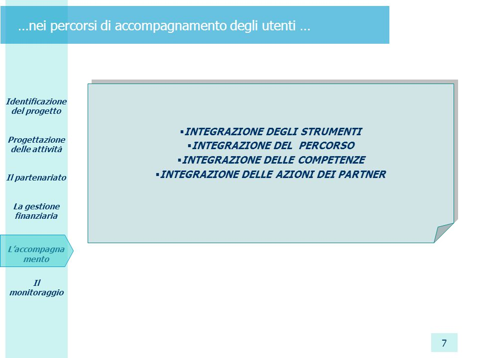 Identificazione del progetto Progettazione delle attività Il partenariato La gestione finanziaria L'accompagna mento Il monitoraggio 7 …nei percorsi di accompagnamento degli utenti …  INTEGRAZIONE DEGLI STRUMENTI  INTEGRAZIONE DEL PERCORSO  INTEGRAZIONE DELLE COMPETENZE  INTEGRAZIONE DELLE AZIONI DEI PARTNER  INTEGRAZIONE DEGLI STRUMENTI  INTEGRAZIONE DEL PERCORSO  INTEGRAZIONE DELLE COMPETENZE  INTEGRAZIONE DELLE AZIONI DEI PARTNER