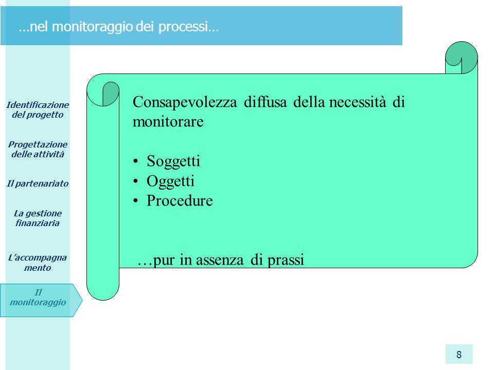 Identificazione del progetto Progettazione delle attività Il partenariato La gestione finanziaria L'accompagna mento Il monitoraggio 8 …nel monitoragg