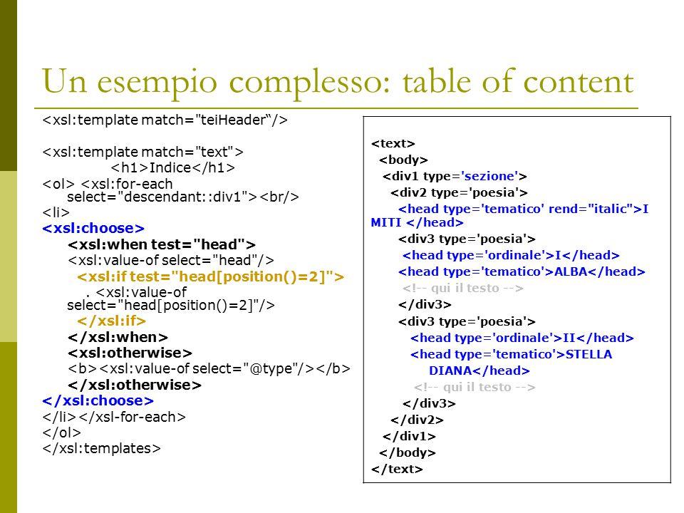 Un esempio complesso: table of content Indice. I MITI I ALBA II STELLA DIANA