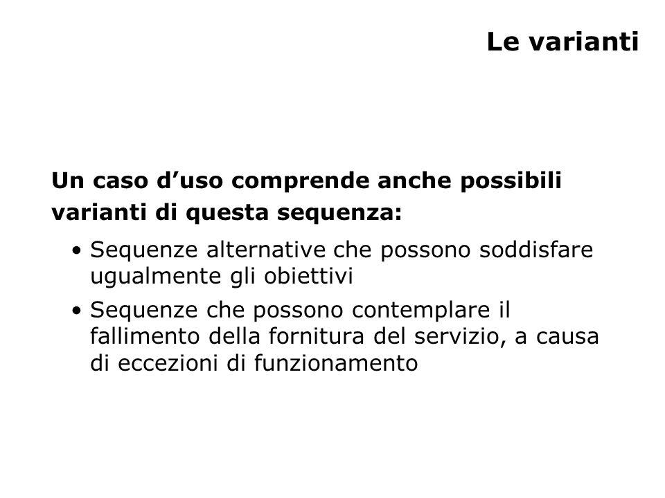 Le varianti Un caso d'uso comprende anche possibili varianti di questa sequenza: Sequenze alternative che possono soddisfare ugualmente gli obiettivi