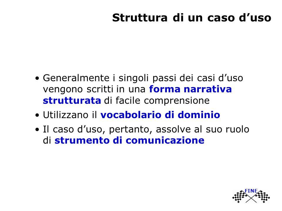 Struttura di un caso d'uso Generalmente i singoli passi dei casi d'uso vengono scritti in una forma narrativa strutturata di facile comprensione Utili