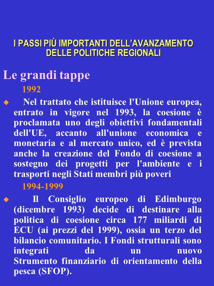 I PASSI PIÙ IMPORTANTI DELL'AVANZAMENTO DELLE POLITICHE REGIONALI Le grandi tappe 1992  Nel trattato che istituisce l Unione europea, entrato in vigore nel 1993, la coesione è proclamata uno degli obiettivi fondamentali dell UE, accanto all unione economica e monetaria e al mercato unico, ed è prevista anche la creazione del Fondo di coesione a sostegno dei progetti per l ambiente e i trasporti negli Stati membri più poveri 1994-1999  Il Consiglio europeo di Edimburgo (dicembre 1993) decide di destinare alla politica di coesione circa 177 miliardi di ECU (ai prezzi del 1999), ossia un terzo del bilancio comunitario.
