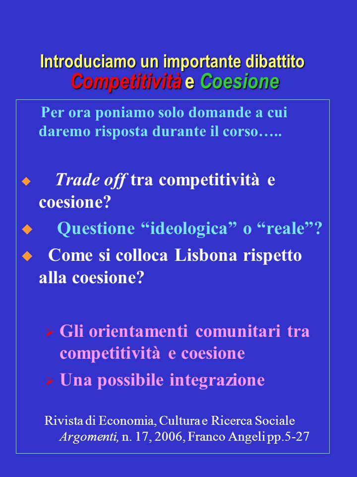 Introduciamo un importante dibattito Competitività e Coesione Per ora poniamo solo domande a cui daremo risposta durante il corso…..