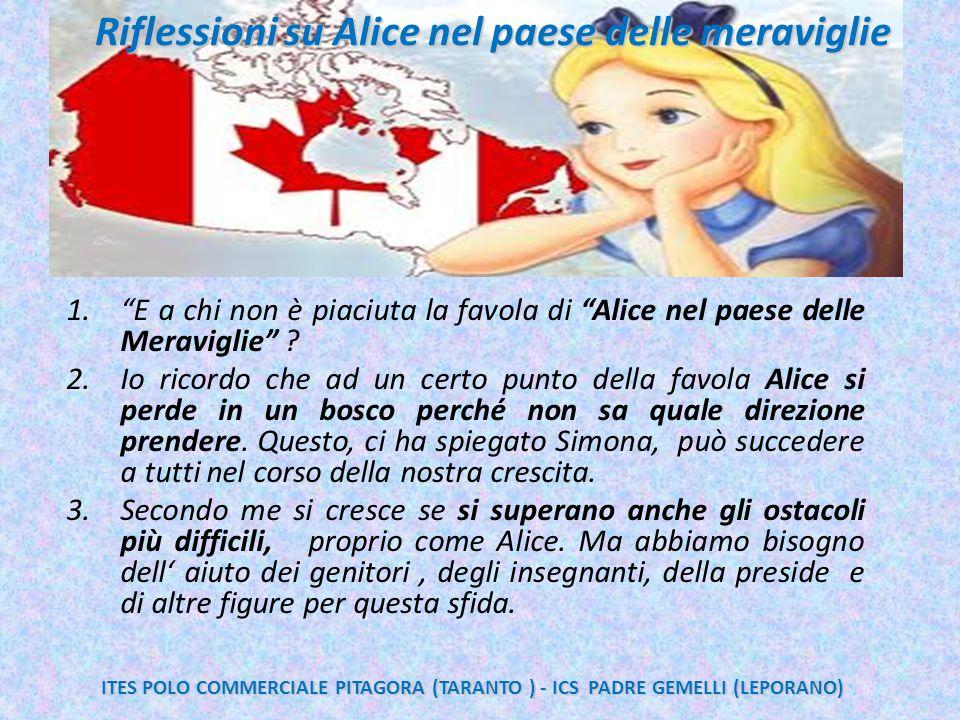 """Re 1.""""E a chi non è piaciuta la favola di """"Alice nel paese delle Meraviglie"""" ? 2.Io ricordo che ad un certo punto della favola Alice si perde in un bo"""