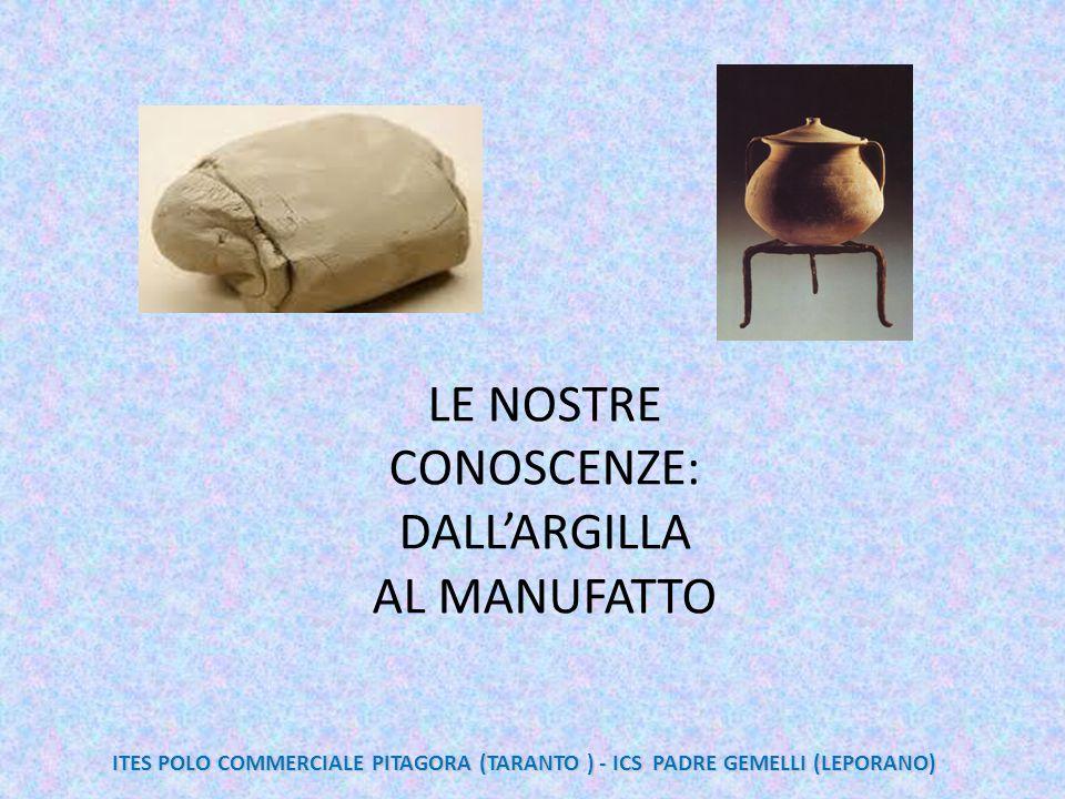 LE NOSTRE CONOSCENZE: DALL'ARGILLA AL MANUFATTO ITES POLO COMMERCIALE PITAGORA (TARANTO ) - ICS PADRE GEMELLI (LEPORANO)