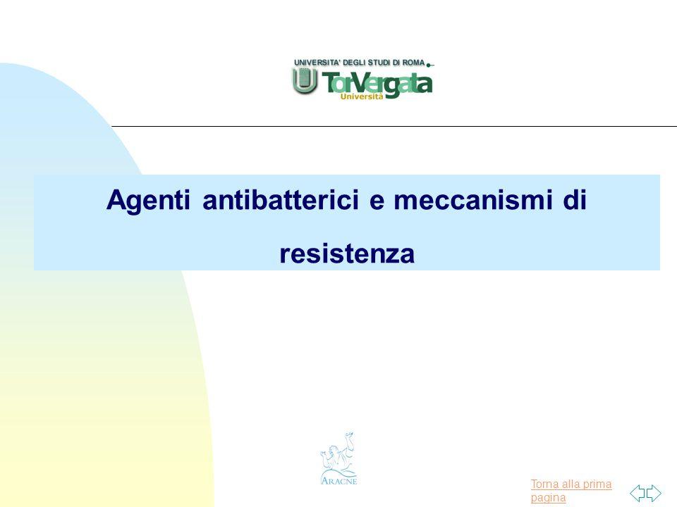 Torna alla prima pagina Agenti antibatterici e meccanismi di resistenza