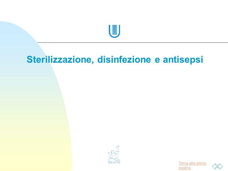 Torna alla prima pagina Sterilizzazione, disinfezione e antisepsi