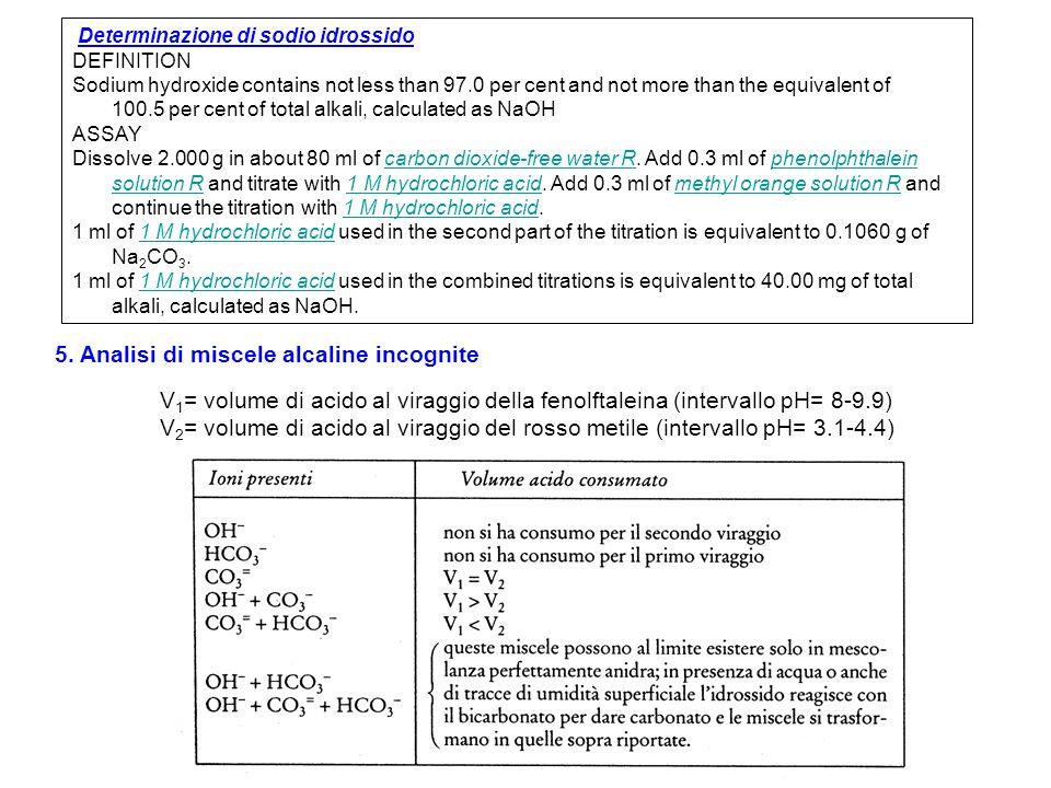 4. Dosaggio di miscele di idrossidi e carbonati 4.1 Metodo di Winkler: -si effettua la titolazione con HCl e usando rosso metile come indicatore (inte