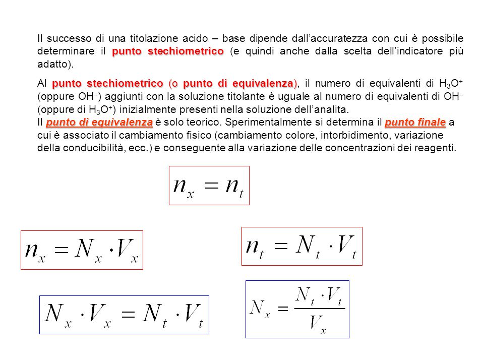 punto stechiometrico Il successo di una titolazione acido – base dipende dall'accuratezza con cui è possibile determinare il punto stechiometrico (e quindi anche dalla scelta dell'indicatore più adatto).