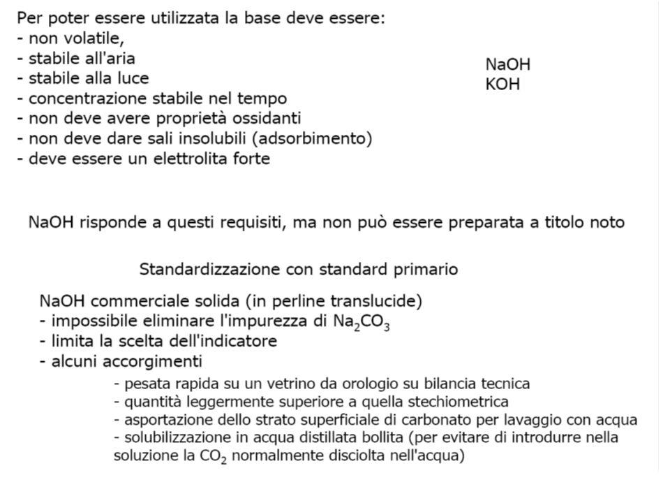 Soluzione standard di NaOH 0.1 M  Sostanza occorrente: NaOH (pastiglie) puro per analisi (è impura di ione carbonato)  Titolazione da sostanze madri