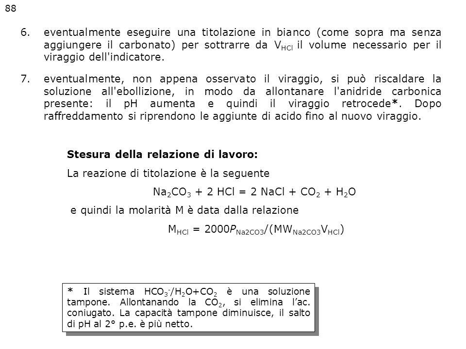 1.avvinare una buretta da 50 mL pulita con circa 5-10 mL dell'acido cloridrico da standardizzare, riempirla e azzerarla (attenzione alle bolle nel bec