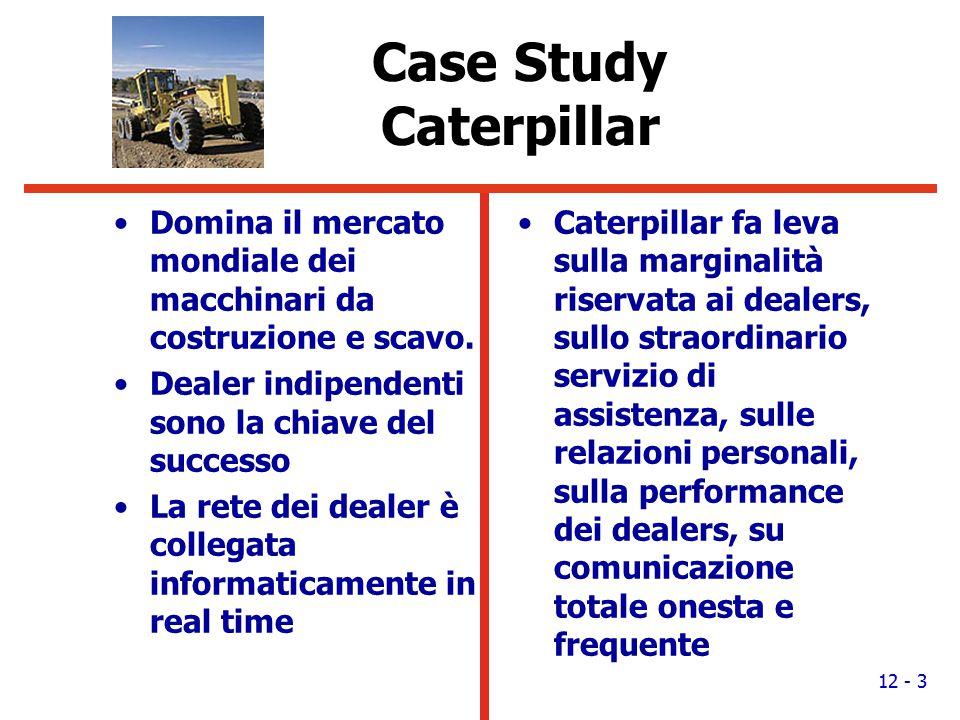 Case Study Caterpillar Domina il mercato mondiale dei macchinari da costruzione e scavo. Dealer indipendenti sono la chiave del successo La rete dei d