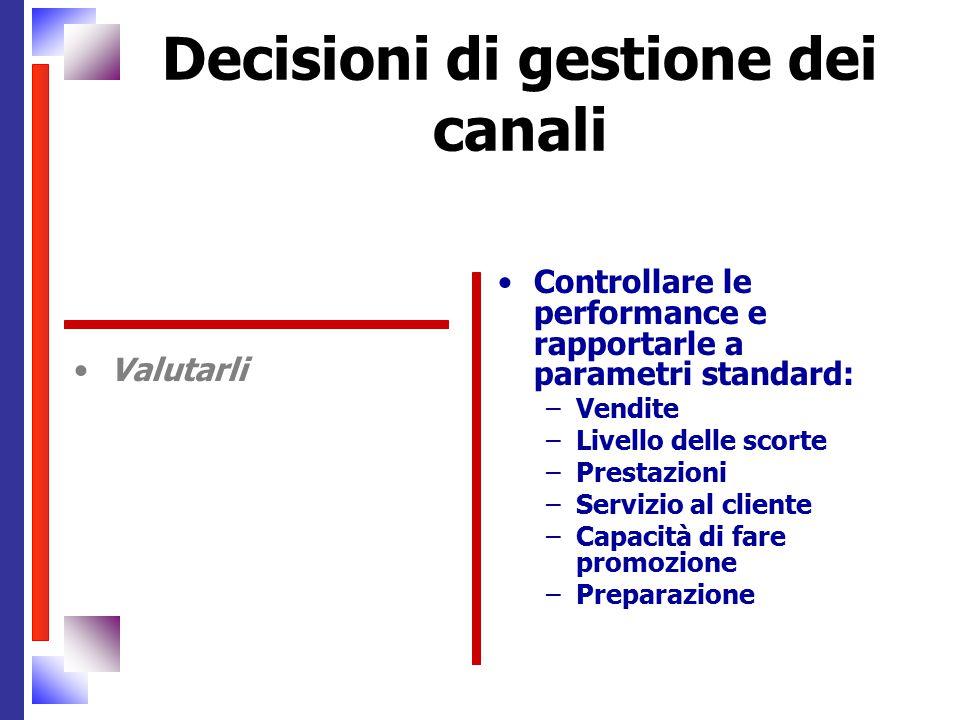 Decisioni di gestione dei canali Valutarli Controllare le performance e rapportarle a parametri standard: –Vendite –Livello delle scorte –Prestazioni