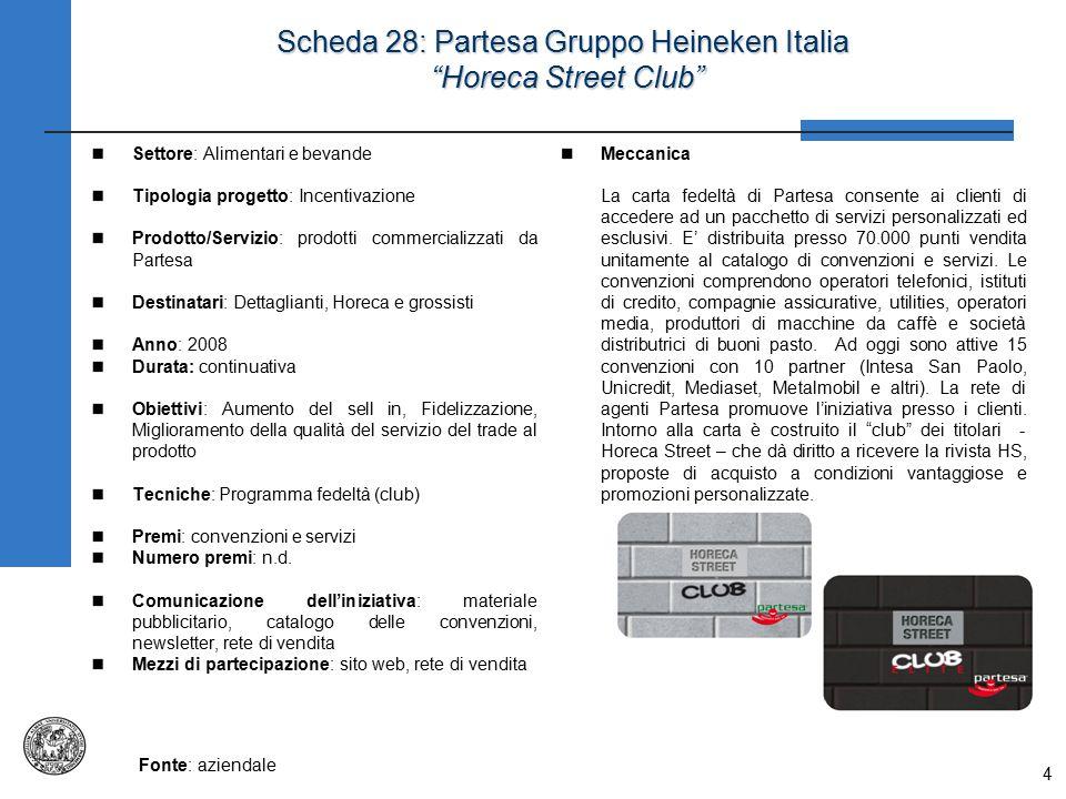 """4 Scheda 28: Partesa Gruppo Heineken Italia """"Horeca Street Club"""" Settore: Alimentari e bevande Tipologia progetto: Incentivazione Prodotto/Servizio: p"""